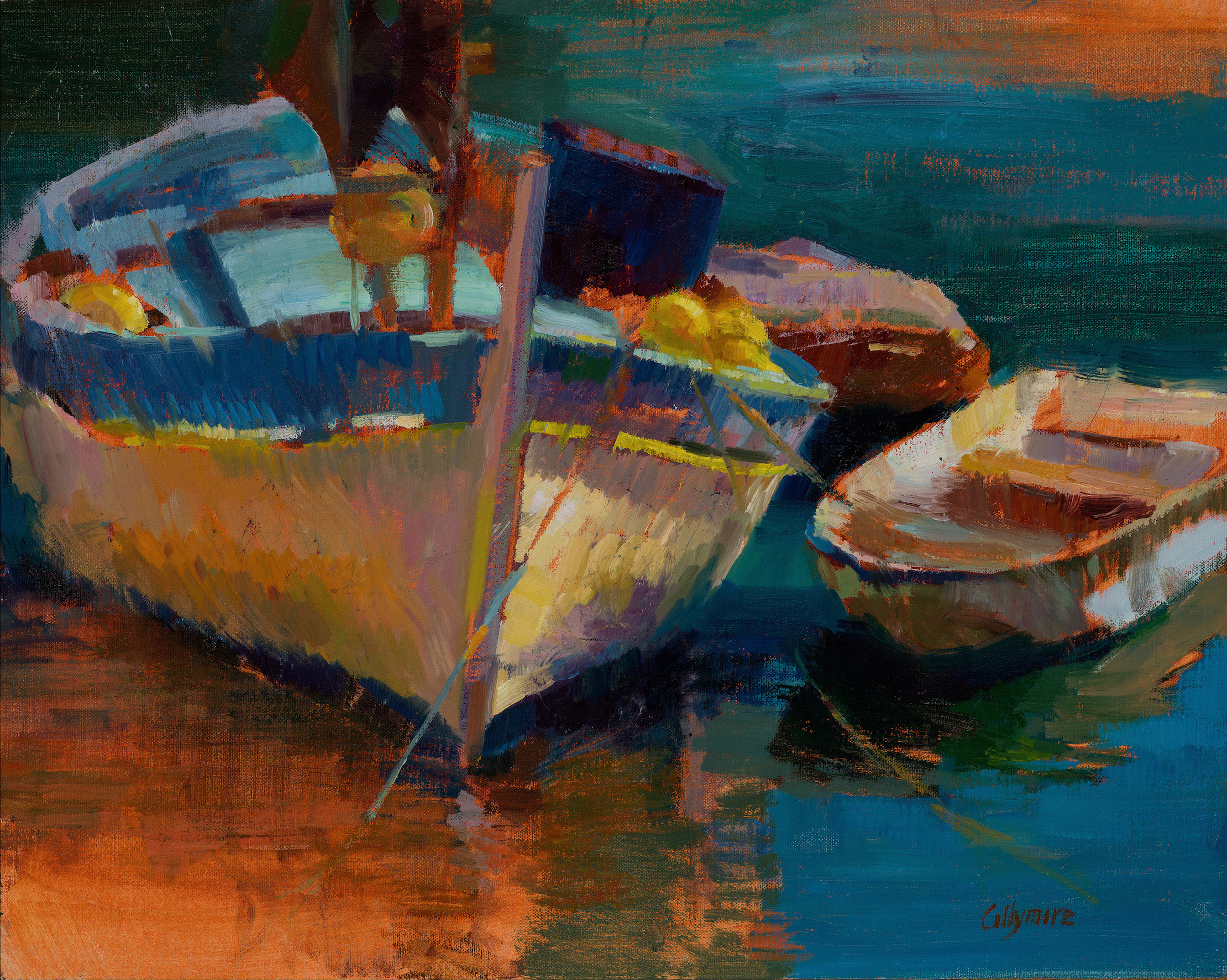 Two Boats in Villefranche-sur-mer   oil on linen  16x20